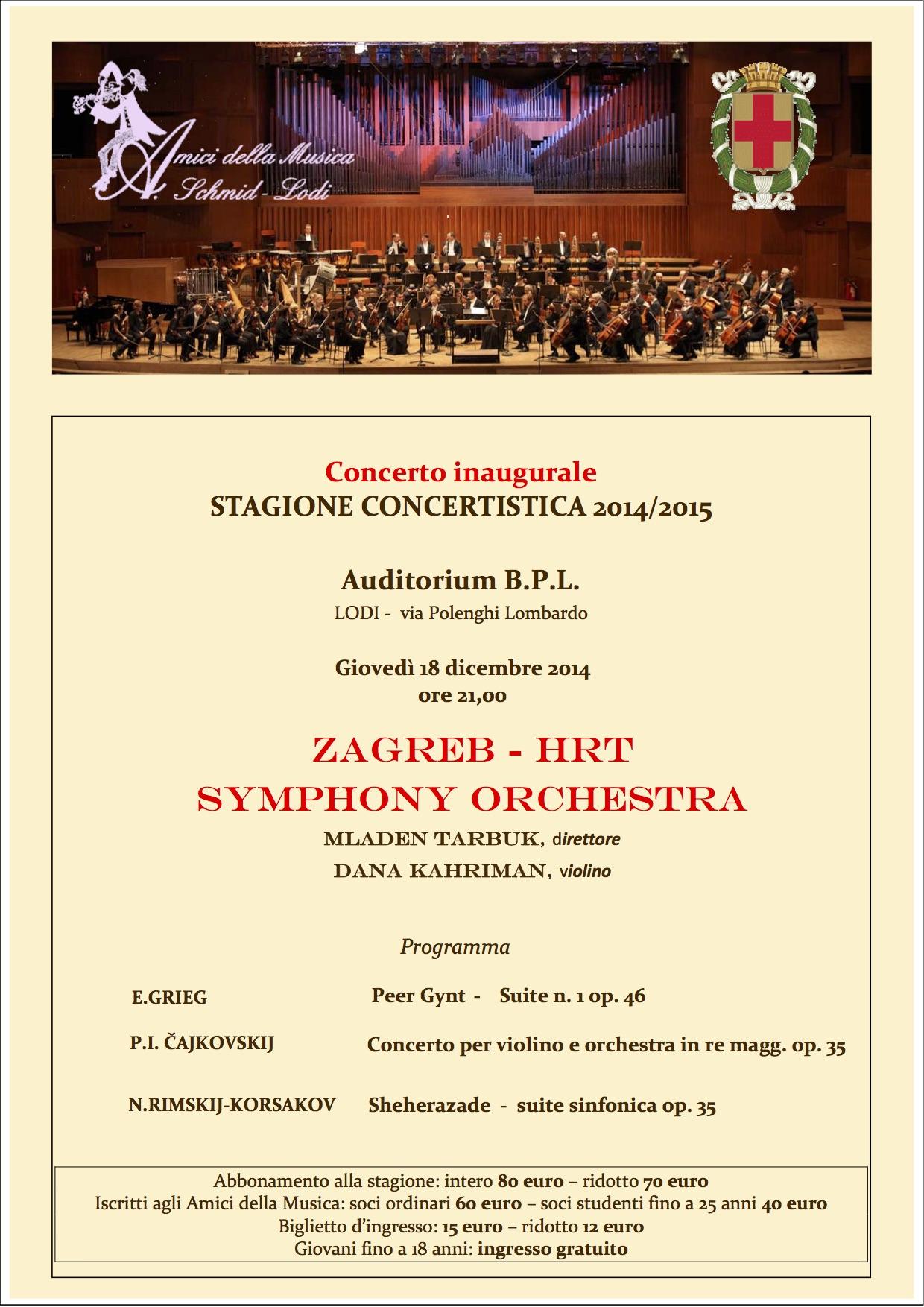 Concerto inaugurale Zagreb HRT Symphony Orchestra